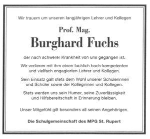 † Prof. Mag. Burghard Fuchs